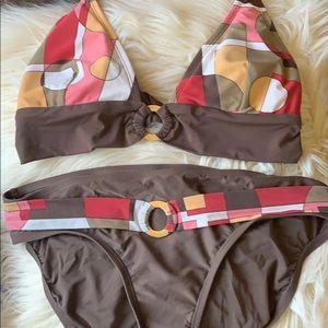 Bikini top is Medium, bottoms are Large